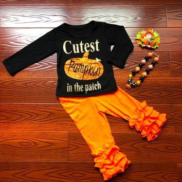 2018 new baby girls outfits halloween baby kids boutique baby girl kid halloween outfits pumpkin sets with matching necklace bow