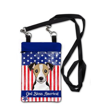 American Flag and Jack Russell Terrier Crossbody Bag Purse BB2191OBDY