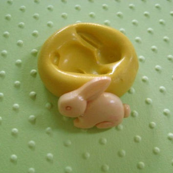 Easter BUNNY RABBIT mold   FLEXIBLE silicone mold   food safe mold fondant or polymer clay and resin wax