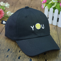 Letters and Smiley Face Emoticon Embroidered Baseball Caps in Black