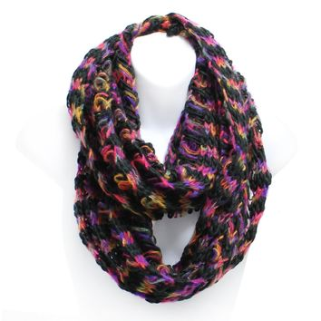 Multicolor Chunky Knit Winter Infinity Scarf