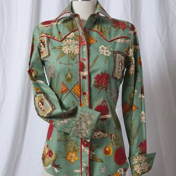 Women's Sea Green Freida Cactus Western Shirt