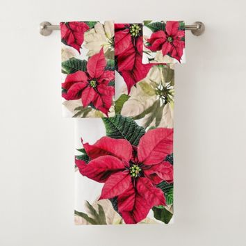 White & Red Winter Poinsettia Flower Towel Set