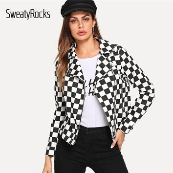 SweatyRocks Black and White Checked Print Moto Jacket Women Autumn Outwear Ladies Coat 2018 Clothes Womens Jackets And Coats