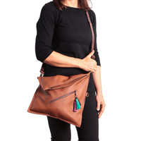 Cross body bag, Fold over purse, Brown leather crossbody purse