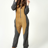 Millicent Owl Design Zip Front Hooded Onesuit