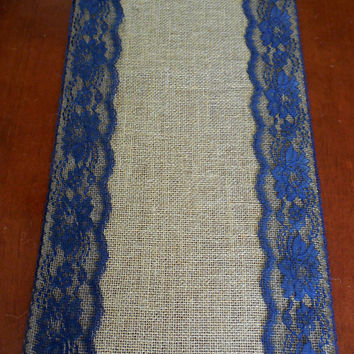 Burlap Table Runner Wedding Navy Lace Decor Rustic Bridal Shower Beach