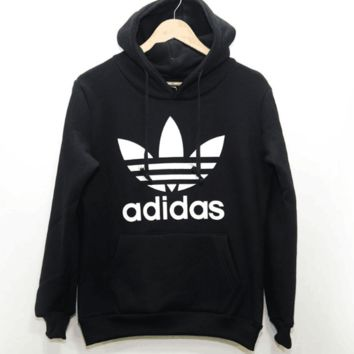 "Fashion ""Adidas"" Print Hooded Pullover Tops Sweater Sweatshirts Black"