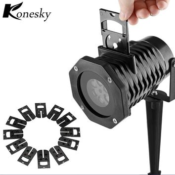 Projector Lamp LED Stage Light Waterproof Snowflake Laser Holiday Party Landscape Light Garden Lamp Outdoor Lighting 12pcs Color