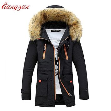 Men Winter Hooded Jacket And Coats Snow Warm Thick Down Parkas Brand Design Fashion Slim Fit Cotton Overcoats SL-M007