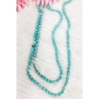 "60"" Long Beaded Necklace, Turquoise"