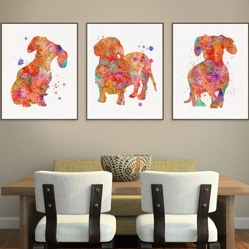 Dachshund Art, Watercolor Dachshund, Set of 3 Prints, Dachshund Print, Dachshund Wall Decor, Dog Lover Gift, Dachshund Painting, Gift Idea