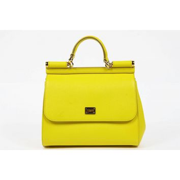Dolce & Gabbana Miss Sicily Dauphine Leather Flap Bag, Yellow