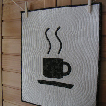 coffee cup quilted wall hanging