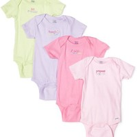 Gerber Baby-girls Infant 4 Pack Fashion Onesuit