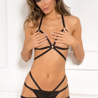 Misbehave Black Bondage Bra Set in S/M