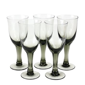 Smokey Black Mid-Century Goblets, Hand Blown