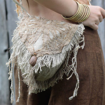 Pouch and Side Bag made of Hemp and Lynen Earthy Natural Eco- friendly Pixie