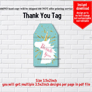 Instant Download, #1066  blue unicorn, little girl Party, Thank you TAG, 3.5x2inch printable, non-editable NOT CUSTOMIZABLE