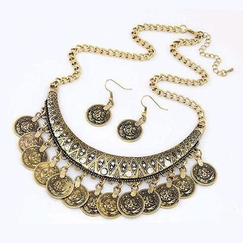 Women's Coin Style alloy necklace chain necklace earrings jewelry set