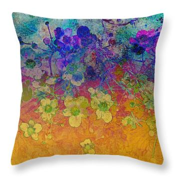 "Flower Fantasy Two Throw Pillow for Sale by Ann Powell - 14"" x 14"""