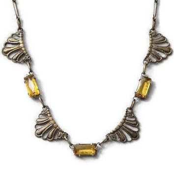 1920's Art Deco Amber Crystal Necklace, Brass Scalloped Fan Design