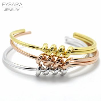 FYSARA Luxury Design Punk Winding Knot Bracelets Bangles For Women Manchette Rose Gold Color Bangle Cuff Bracelet Love Pulseiras