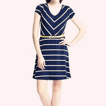 Navy Blue Striped V-Neck Short Sleeve A-line Mini Dress