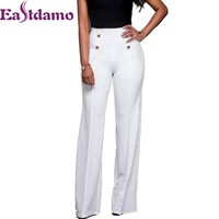 Eastdamo 2017 High Waist Flare Pants Women Long Trousers Slim Solid Candy Color Casual Office Skinny Pants Stretch Flares Pants