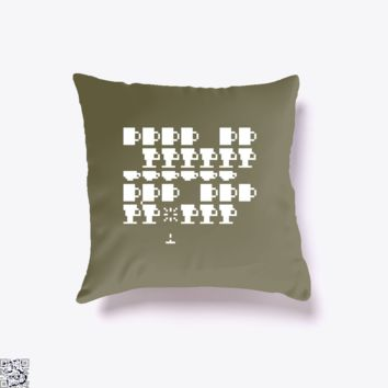 Coffee Invaders, Coffee Lover's Throw Pillow Cover