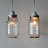 Pair of MASON JAR Hanging PENDANT Lights - Upcycled Rustic Mason Jar Lamps featuring 2 clear Quart Ball Mason Jars - BootsNGus Lighting