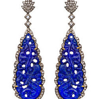 Divya Diamond Blue Tear Drop Dangle Earrings - Max and Chloe