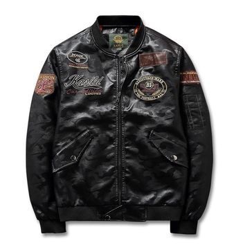 MORUANCLE Fashion Mens Leather Bomber Jacket With Patches PU Flight Pilot Jackets And Coats For Man Outerwear Plus Size S-4XL