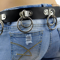 Double O Ring Leather Belt with Hinged D Rings Large Black