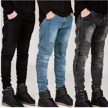 Mens Ripped Biker Jeans homme Men's fashion Motorcycle Slim Fit Black White Blue