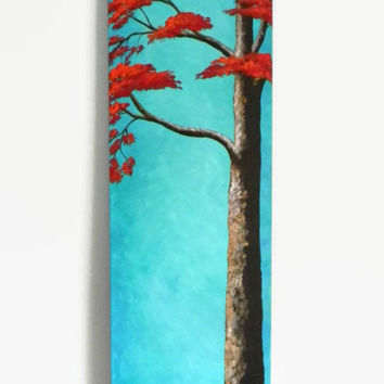 "Autumn Tree, Original Acrylic Painting, 12X36"", Tree painting, Simple painting, Fall painting, Abstract Landscape, Skinny Painting"
