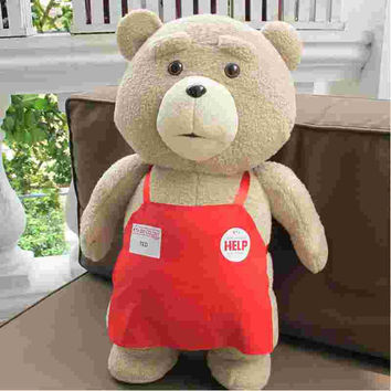 Big size Teddy Bear Ted 2 Plush Toys In Apron 45CM Soft Stuffed Animals Ted Bear Plush Dolls For Baby Kids Christmas Gifts