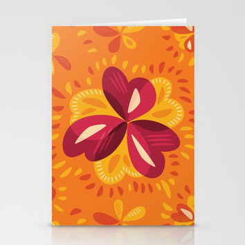 Orange And Pink Clover Abstract Floral Stationery Cards by borianagiormova