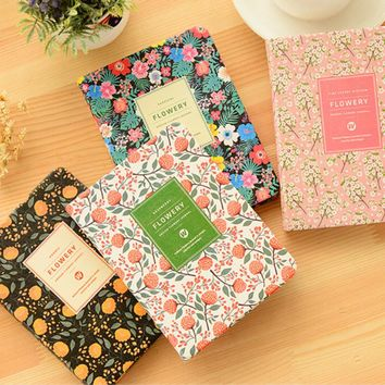 Korean Cute Floral Vintage Flower Schedule Book Diary Weekly Monthly Planner Organizer Notebook Stationery 15cmx11cm