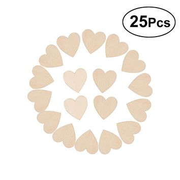 25pcs /50mm/ Blank Heart Shaped Wood Discs for DIY Crafts Embellishments