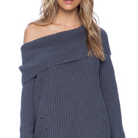 525 america Heritage Off the Shoulder Sweater in Slate