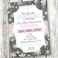 Holiday Baby Shower snowflake Invitation winter A little snowflake purple 5x7 pink purple teal printed invitation holiday baby shower invite