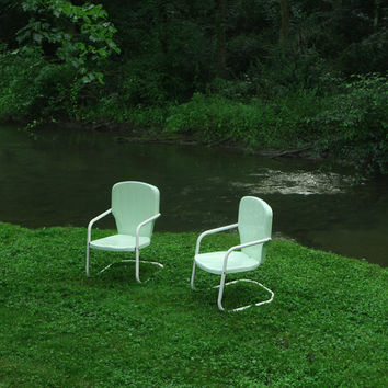 For Him Mid Century  Chair Mint Shell Chairs on Lawn