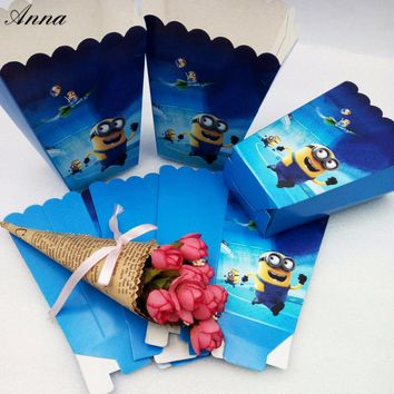 6pcs/lot Cartoon Minions Party Supplies Popcorn Box Gift Box Favor Accessory Birthday Party Supplies Kids Event&Party Supplies 1
