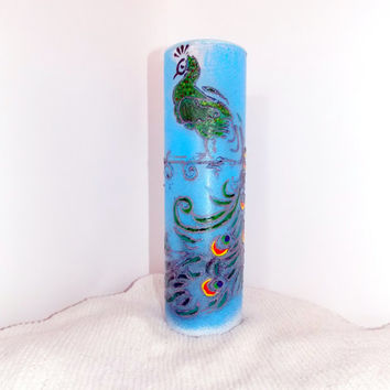 Vase,  Blue Vase, Glass, Acrylic paints, Home & Living, Vases  Glass, home decor, hand painted,  gift,  decor