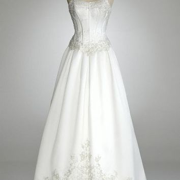 David`s Bridal Wedding Dress: Strapless Satin Ball Gown with Beaded Lace Bodice Style 1210691