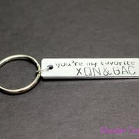 You're My Favorite with Custom Initials, Hand Stamped Aluminum Keychain, Couples, Best Friends