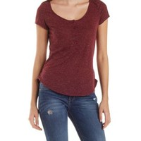 Slub Knit Henley Tee with Dolphin Hem by Charlotte Russe