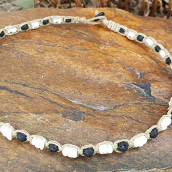 Mens Hemp Necklace, Puka Shell Necklace, Lava Rock Beads, Surfer Necklace, Gift for Him, Mens Jewelry, Handmade Necklace, Hemp Jewelry, Gift