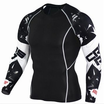 Mens Compression 3D Wolf Jersey / Long Sleeve Fitness Men Shirt
